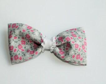 Pink and grey floral spring bow, hair clip, hair bow, kids hair bow, baby hair bow, toddler hair bow, adult hair bow, handmade