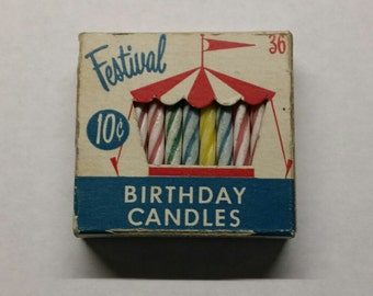 Vintage Festival 1960's Birthday Cake Candles in Original Box of 36 Marked 10 Cents Party Gurley Candle Company