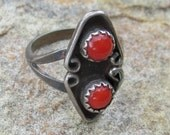 Vintage Sterling Silver Red Coral Ring, Size 5.5 Traditional Native American Indian Ring