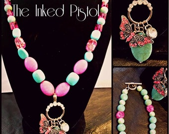 The Butterfly and the Stone Beaded Necklace