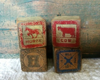 Set of 4 Vintage wood Blocks