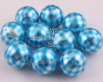 20mm resin GINGHAM print gumball beads - Turquoise