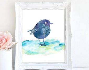 Little Bird Art Print, Instant Download, 8x10 Bird Print, Watercolor Nursery Art, Blue Bird Print, Wildlife Art