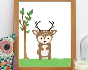 Woodland Nursery Print, 8x10 Deer Print, Digital Download, Printable Nursery Art, Deer Nursery Print