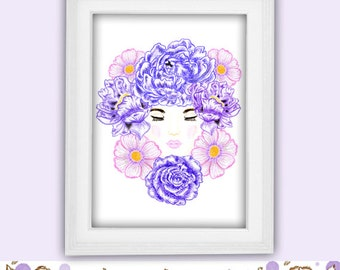 Girl Illustration, Flower illustration, Peony Printable, Flower Girl Poster, Home Decor Wall Art, Hand Drawn Girl Portrait, Instant Download