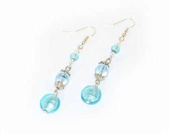 Aqua Earrings, blue earrings, dangle, sparkle, fashion earrings, fashion accessory
