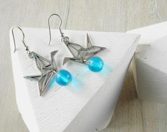 Dangling earrings, blue, bird origami crane