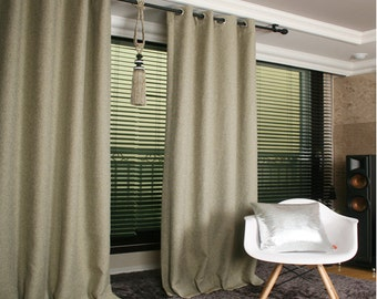 Olive Linen Blended Blackout Curtain Nursery Curtains
