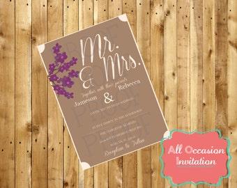 Wedding Invitation; Digital File; Printable