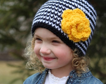 Girl Crochet Flower Hat- Hat for Girls-Little Girl Beanie-Little Girl Hat-Girl Crochet Hat -Yellow and Black Hat- Bumble Bee Hat