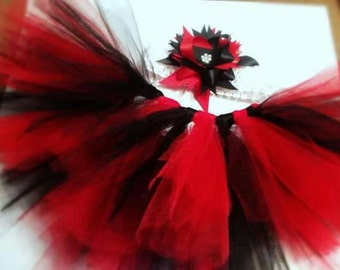 Red and Black Tutu With Headband