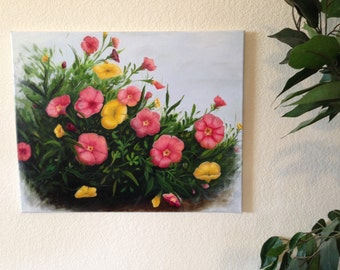 "Original Acrylic Painting, ""Summer Blooms"""