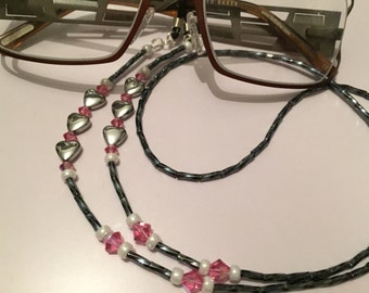 Glasses Chain Rose Pink Swarovski Crystal Heart Glasses/Sunglasses/Spectacles Holder/Lanyard
