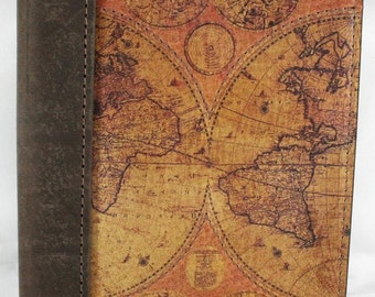 "Leather Travel Journal - Notebook - Diary - Logbook with a Printed Old World Map on front cover, 5"" X 7"" with Lined Paper"