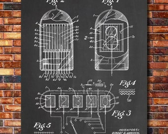 Nixie Tube Patent Print Art 1952