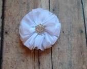 premium 2.5 inch White Ballerina flower, finished chiffon flower with rhinestone center, diy headband, wholesale flowers, boutique supplies