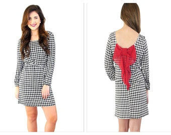 Houndstooth dress,Houndstooth dress with bow, Dress with Bow
