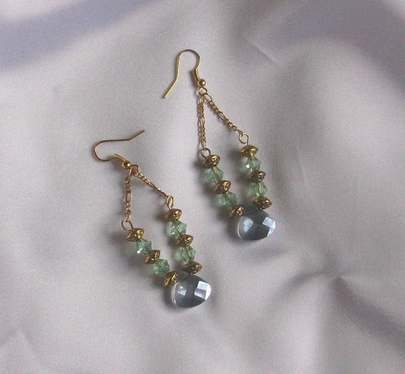 Blue & Green Crystal Chandelier Earrings