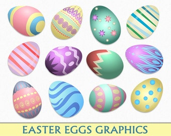 Colorful Easter Eggs Clip Art Egg Clipart Digital Scrapbook Graphics Instant Download Transparent PNG JPG