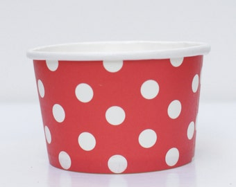 Ice Cream Cups Red Polka Dot Pack of 10 Party Supplies