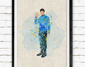 Star Trek Poster, Spock Watercolor Art Print, Watercolor Painting, Kids Bedroom Decor, Home Decor, Wall Decor, Gift, Buy 2 Get 1 Free! NA59