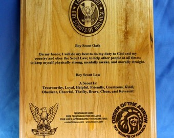 Personalized Boy Scouts of America (BSA) Oath and Law Wood Plaque 10.5X 13 in, Order of the Arrow gift