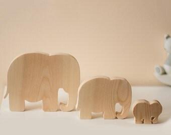 Set Of Three Wooden Elephant Ornaments
