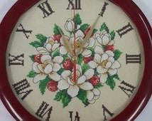 Clock Magnolia Cross Stitch Machine Embroidery Design Pattern Digital INSTANT DOWNLOAD