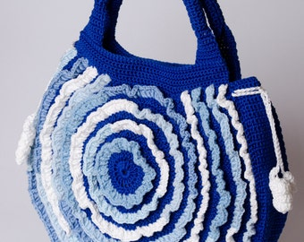 Crochet summer bag Blue and white cotton bag Round bag Handbags Sea style Marine crocheted bag Gift fot her