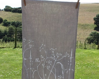 Hand Printed Linen Tea Towel from Hedgerow Collection