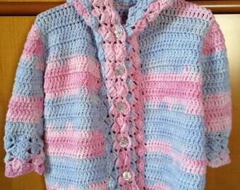 Girl pink/melange coat Wisteria Hoodie (size 3/4)