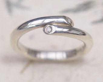 Diamond Crossover Ring - Eco Silver or 18k Gold - Handmade to Size