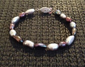Purple and Silver water pearl bracelet