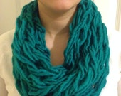 Teal Infinity Scarf, Arm Knitted Infinity Scarf, Infinity Scarf, Arm Knit Scarf, Handmade Scarf