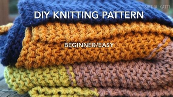 Easy Knitting Projects For Beginners Uk : Diy knitting pattern easy beginner chunky blanket color