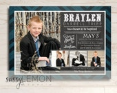Braylen Baptism Invitation, LDS Baptism Announcement, Digital, Printable, Trendy