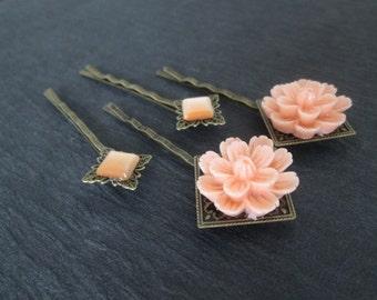 Orange Flower Hair Pin, 4 Orange Hairpins, Antique Bronze Bobby Pins with Orange Flower, Cateye Square