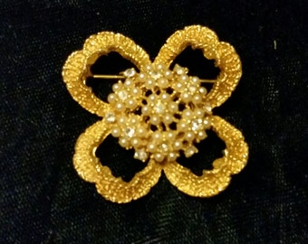 Vintage Gold Tone Rhinestone and Faux Seed Pearl Flower Costume Pin Brooch