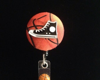 Basketball Badge -Nurse Retractable ID Badge Reel/ RN Badge Holder/Doctor Badge Reel/Nurse Badge Holder/Student Nurse badge reel/ nursing gi