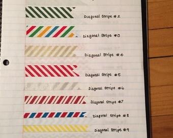 Washi Tape Samples: Diagonal Stripe