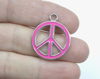 8 Peace Sign Light Pink Enameled Charms ENCH 105LP - Zinc Alloy Enameled Pendants-Peace Sign Zinc Alloy Silver Enameled Necklace Pendants