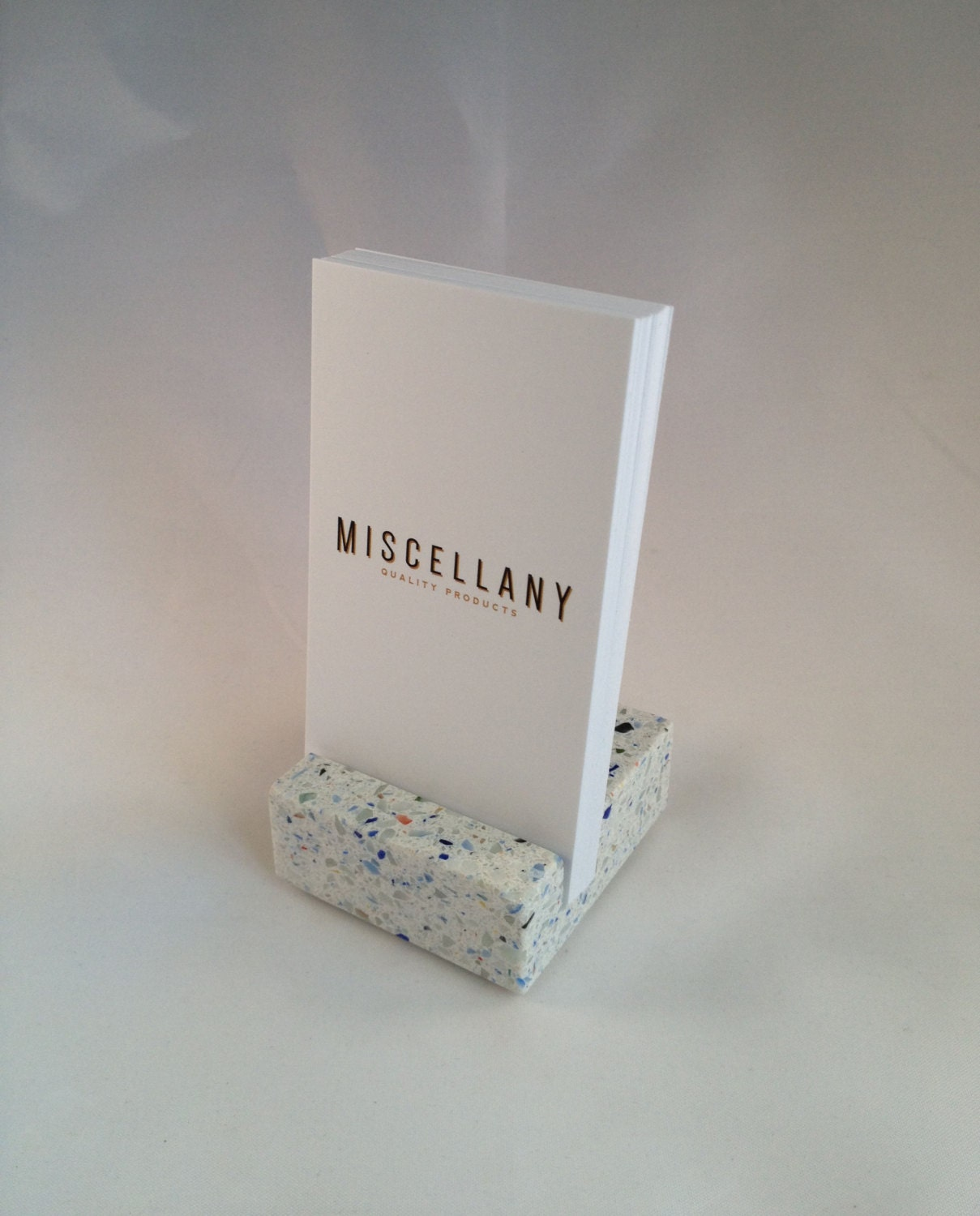 Vertical Business Card Holder Confetti by CraftsmanStoneworks
