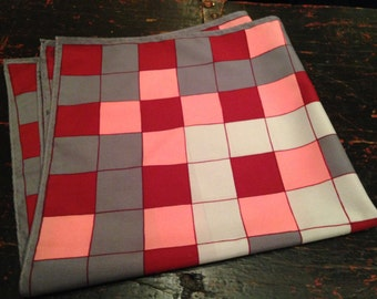 Grey and pink checkered handkerchief