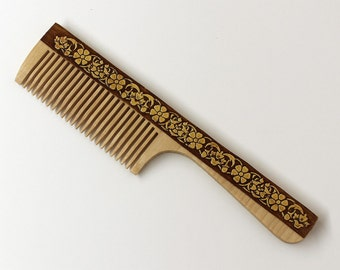 Birch Wooden Hair Comb No Static, Wood Natural Hair Accessory, Eco-friendly Floral Handmade Birch Bark Gift