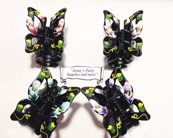 Low Price 2PCS of Butterfly Hair Claw Clips, Hand Painted Floral Hair Claw, Floral Hair Accessories