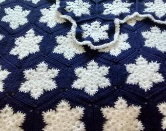 Single Bed Crocheted Afghan - Snowflake motif