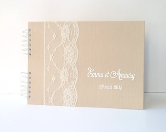 50 pages-beige linen and lace Wedding guest book