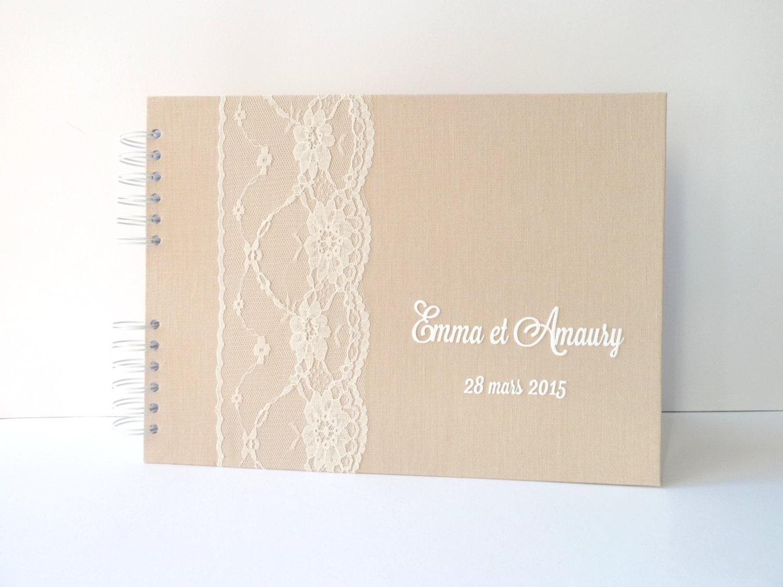 livre d 39 or mariage 50 pages lin beige et dentelle. Black Bedroom Furniture Sets. Home Design Ideas
