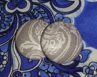 Gray Button Earrings, Perfect Earrings, Stud Earrings, Fabric Covered Button Earrings, Gift