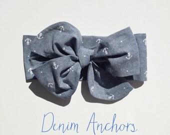Denim Anchors headwrap, headband, headwrap